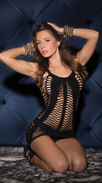 Strappy and Netted Seamless Chemise - Black