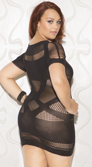 Plus Size Cap Sleeve Cut-Out Chemise - Black