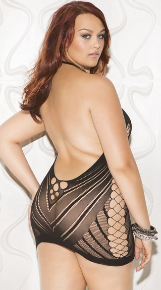 Plus Size Multi-Netted Cut-Out Chemise - Black