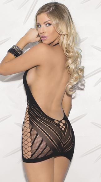 Multi-Netted Cut-Out Chemise - Black