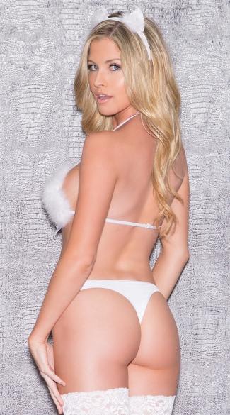 Furry Feline Teddy Lingerie Costume - White
