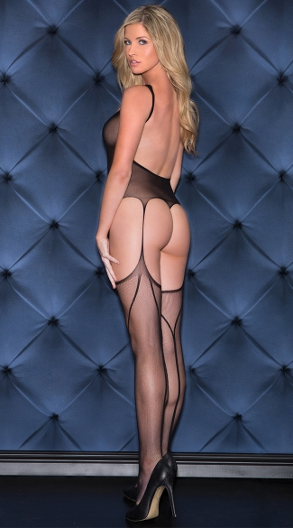 Backless Thong Teddy Bodystocking - Black