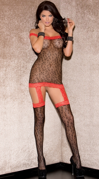 Cheetah Chemise with Lace Trim - Red/Black
