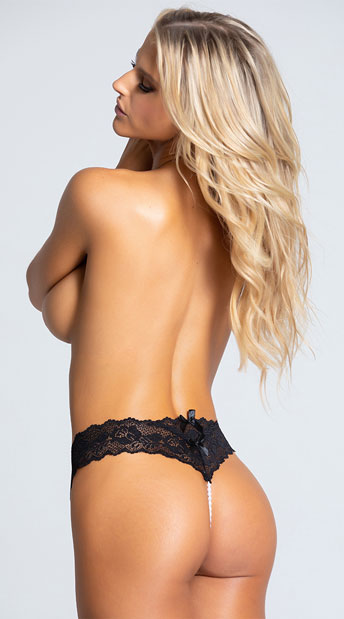 Cheeky Lace Pearl String G-String - Black