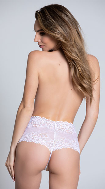 Cheeky Lace Pearl String Boyshort - White