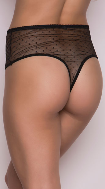 Black High Waisted Mesh and Lace Panty - Black