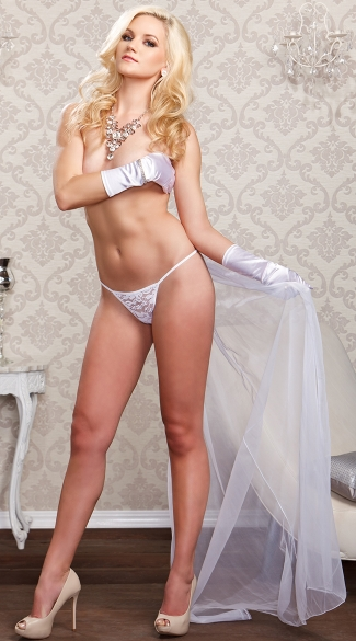Bridal Thong with Extra Long Veil - White