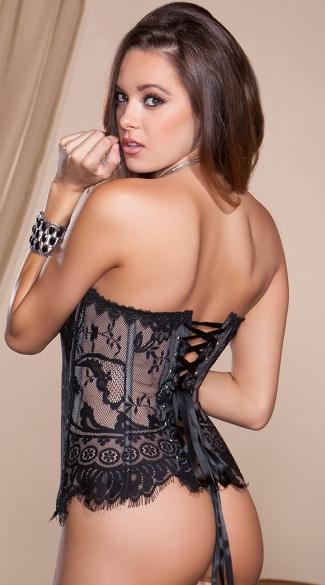 Black Eyelash Lace Corset - Black