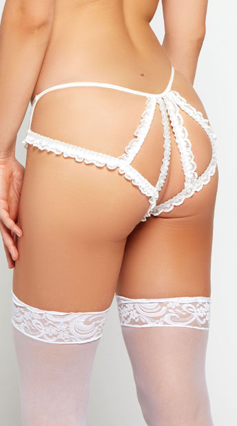 Plus Size Mesh Crotchless Cage Panty - White
