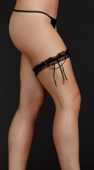 Plus Size Lace Garter with Ribbon Tassel - Black