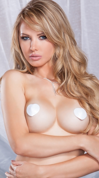 White Sequin Heart Pasties - White