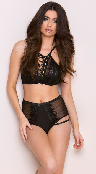 Lace-Up Strappy Bra Set - Black