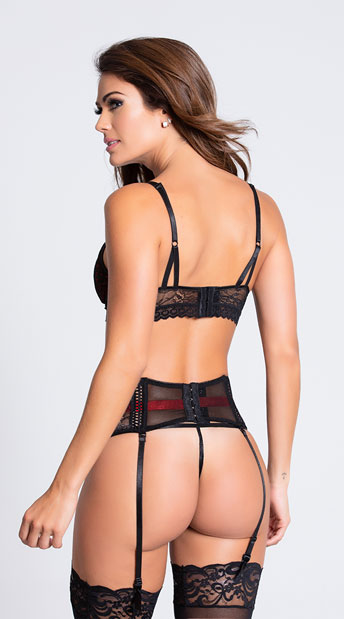 Red and Black Three Piece Bra Set - Red/Black