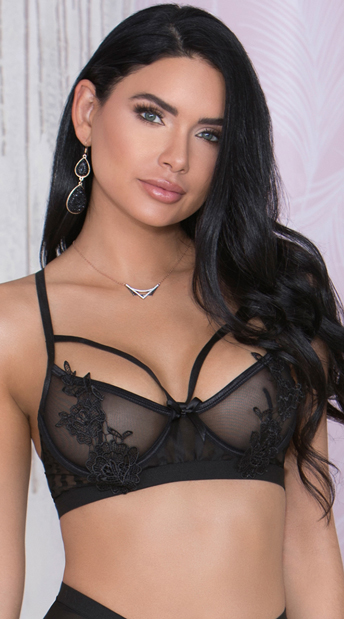 Black Lace and Mesh Bra - Black