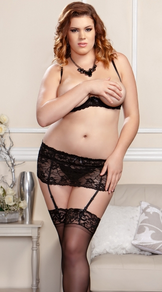 Plus Size Lacey Open Cup Bra Garter and Open Crotch G-String Set - as shown
