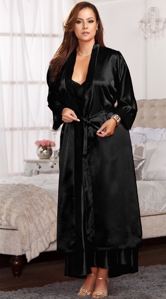 Plus Size Long Satin and Lace Trimmed Robe - Black
