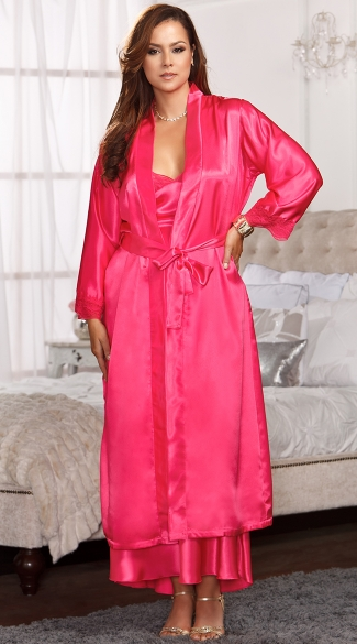Plus Size Long Satin and Lace Trimmed Robe - Fuchsia