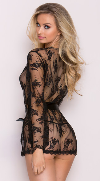 Lace Robe with Butterfly Sleeves - Black