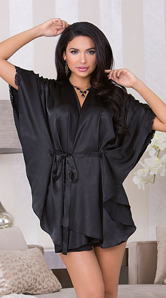 Flutter Sleeve Satin Robe, Black Satin Robe, Satin And -3138