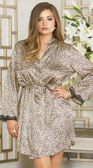 Plus Size Leopard Print Satin Robe, Plus Size Animal Print Robe, Plus Size Animal Print Satin Robe