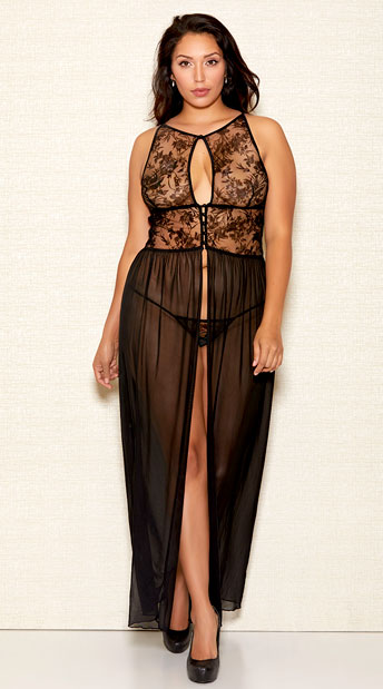 Plus Size Flocking Velvet Gown Set - Black