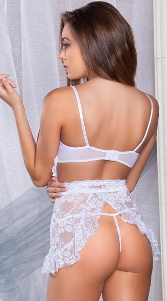 White Lace Apron Chemise - White