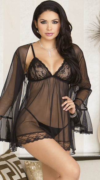 Sheer Black Babydoll and Robe Set, Mesh Babydoll Set, Mesh Robe Set