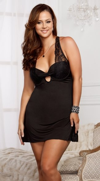 Plus Size Side Slit Chemise Tease with G-String - Black