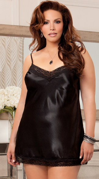 Plus Size Satin And Floral Lace Chemise, Plus Size Girly Satin Nightie, Plus Size Charmeuse Lace Dress