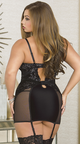 Plus Size Glamorous Silver Lace Chemise Set - Black