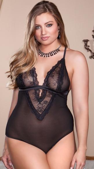 Plus Size Black Tantalizing Teddy - Black