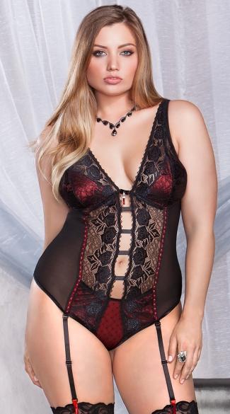 Plus Size Gartered Rose Teddy - Red/Black