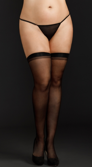 Plus Size Basic Sheer Thigh Highs - Black