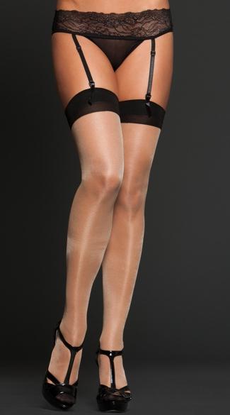 Sheer Cuban Heel Thigh Highs - Nude