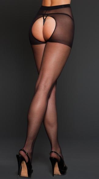 Sheer Spandex Crotchless Pantyhose - Black