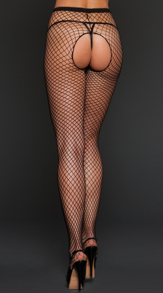 Fishnet Crotchless Pantyhose - Black