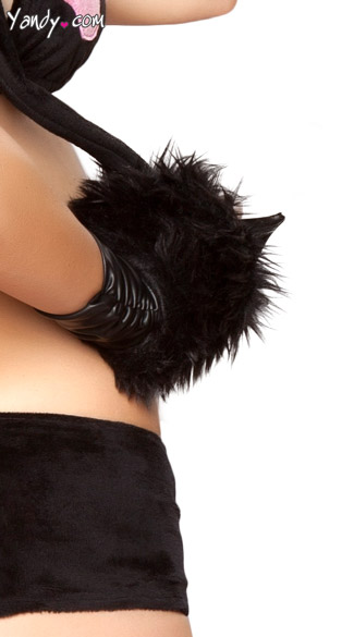 Black Cat Faux Fur Gloves - Black