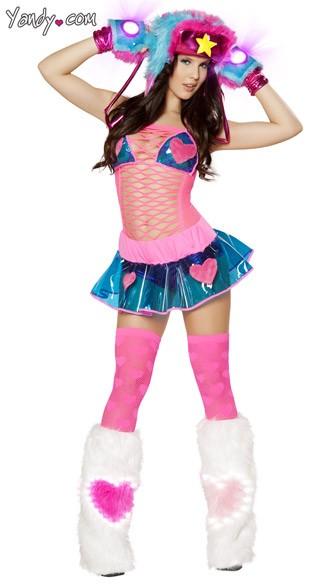 Pink Hearts Raver Girl Set - as shown