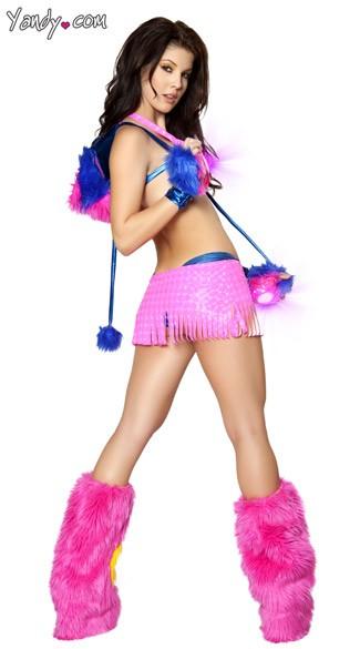 Pink Fringe Raver Girl Set - as shown