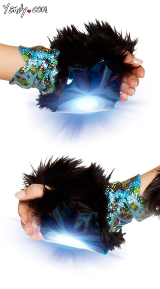 Faux Fur and Metallic Light-Up Gloves - Blue Leopard Print