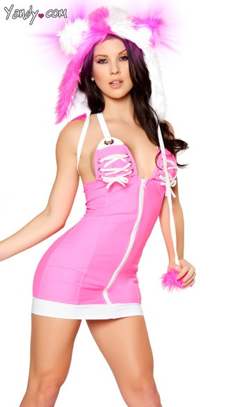 Zipper Front Athletic Dress - Hot Pink