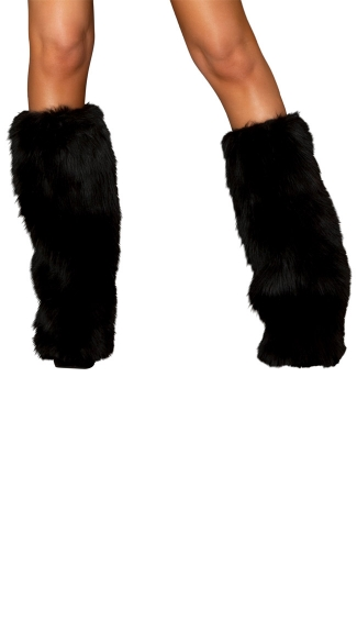 Faux Fur Leg Warmers - Black