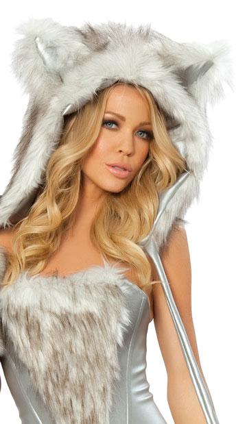 Big Bad Wolf Hood - Silver/White