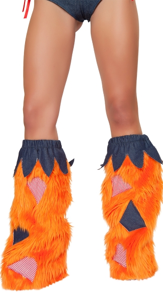 Scarecrow Legwarmers, Orange Furry Leg Warmers
