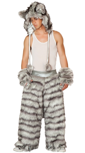 Men\'s Rave Wolf Costume, Big Bad Wolf Hood, Wolf Costume Hood, Bad Wolf Costume Hood, Wolf Pants, Wolf Costume Pants, Faux Fur Wolf Pants, Furry Wolf Gloves, Costume Wolf Gloves, Fur Wolf Gloves