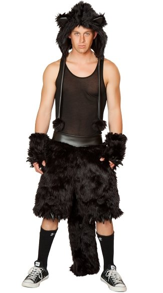 Mens Black Cat Costume, Mens Cat Costume, Adult Cat -8233