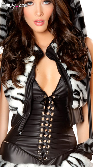 White Tiger Costume Vest - Black