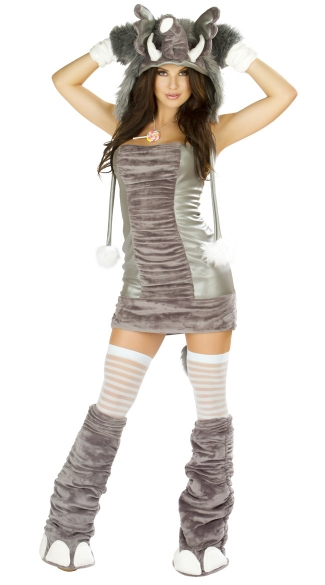 Deluxe Elephant Dress, Gray Elephant Dress, Womens -3343
