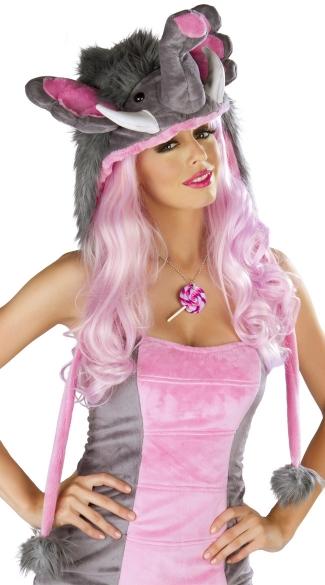 Deluxe Pink Elephant Hood - Grey/Pink