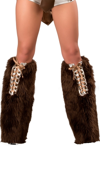 Brown Furry Lace Up Trojan Legwarmers, Sexy Trojan Leg Warmers